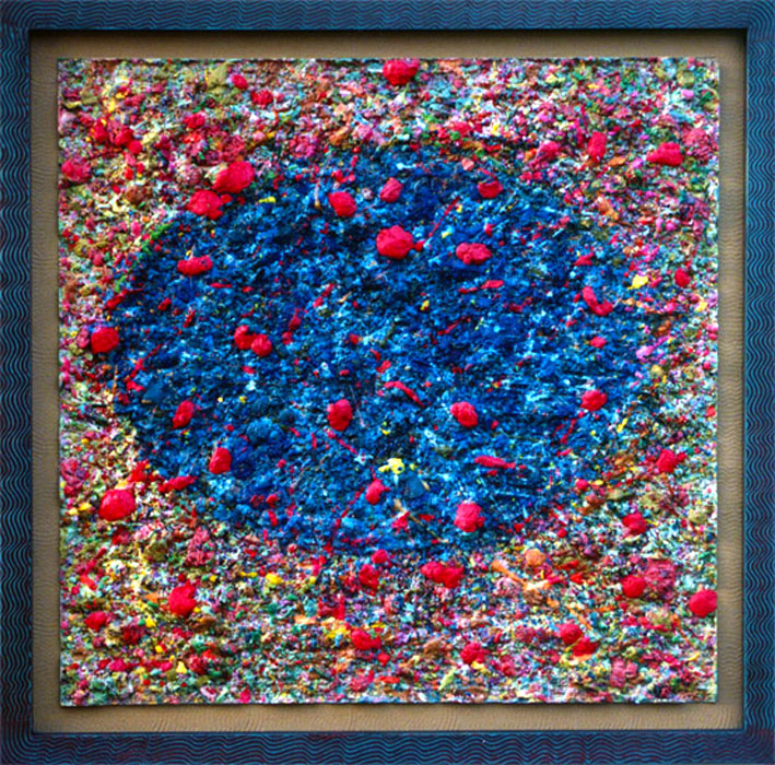 Red Warts, 70 x 70 cm, Pigmented Alpha Plaster on Panel