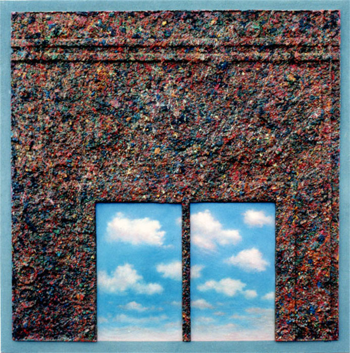 Cloud Window, 122 x 122 cm, Pigmented Alpha Plaster and Acrylic on Panel